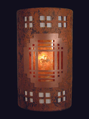 "14"" Closed Top (Dark Sky) - Mission Metal Cover w/Windows Border Design and Amber Mica Lens, in Copper Brick color - Indoor/Outdoor"