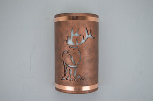 "14"" Open Top - Elk Design w/Top and Bottom Raw Copper Bands, in Antique Copper Color - Indoor/Outdoor"