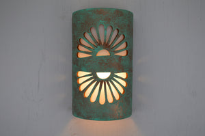"14"" Open Top - Double Fan Design, in Raw Turquoise Color - Indoor/Outdoor"