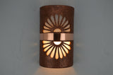 14''-Open Top-Double Fan-Rust Mica-Middle Raw Copper Band-Indoor-Outdoor
