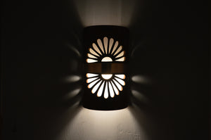 "14"" Open Top - Double Fan Design w/Middle Raw Copper Band, in Rust Mica Color - Indoor/Outdoor"