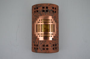 14'' Open Top Mission Copper Cover-Windows Border design-Amber Mica lens-Copper Brick-indoor-outdoor-116 CV8 O18 838 694 90AM