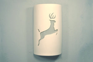 "14"" - Open Top - Leaping Deer, Rustic White - Indoor/Outdoor"