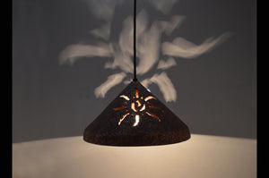 12'' Cone Pendant-Ancient Sun-Rust Mica-indoor-Black cord & cap-145 222 656 91B-lit