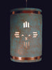 16″ Hanging Pendant - Kachina and Aztec design w/Copper Bands in Raw Turquoise Color