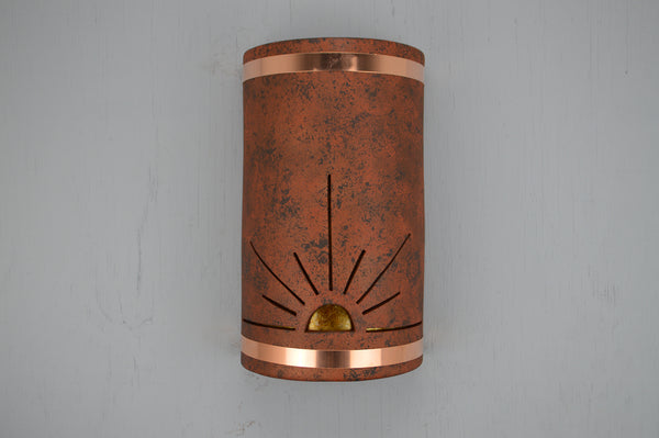 18'' Closed Top-Sunrise-Copper Brick-Raw Copper Bands-Amber Mica-Indoor-Outdoor