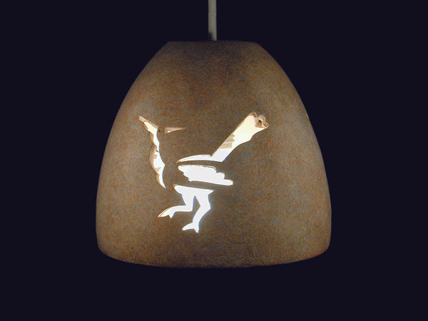 "6"" Pot Pendant - w/Roadrunner Design in Sandstone color Outdoor"