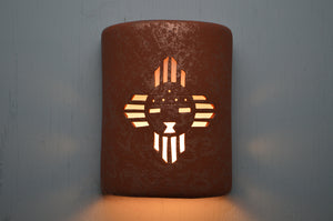 9'' 4 point Kachina(Sunface)-Red Mica-closed top-Southwest-Indoor-Outdoor