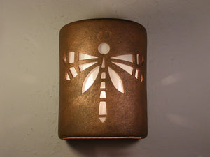 "9"" tall open top with the Dragonfly design and finished in Antique Bronze-Indoor/Outdoor light fixture"