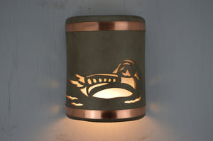 9'' Duck-Taupe Haze-Copper Bands-open top-lit1 -113 325 606 850 90