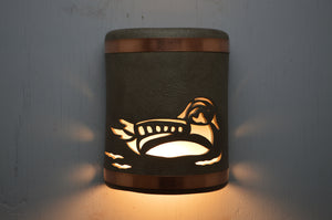 9'' Duck-Taupe Haze-Copper Bands-open top-lit2 -113 325 606 850 90
