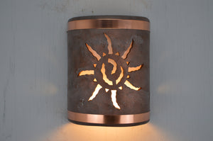 9'' Open Top-Ancient Sun-Copper Wash-Raw Copper Bands-Indoor-Outdoor