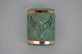 9'' Open Top - Phoenix Design w/Copper Bands, in Raw Turquoise Color - Indoor/Outdoor