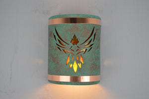 9″ Open Top - Phoenix w/Amber Mica Lens & Copper Bands in Raw Turquoise - Indoor/Outdoor