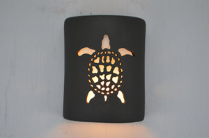 9'' Open Top-Sea Turtle-Black Suede-Indoor-Outdoor