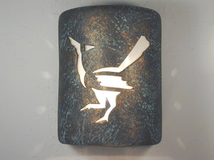 "9"" Closed Top (Dark Sky) - Roadrunner Design in Copper Agate color - Indoor/Outdoor"