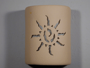 "9"" Open Top - Ancient Sun Design, in Tan color - Indoor/Outdoor"