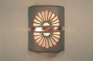 southwest-rustic-lodge-double fan-flourette-copper patina-indoor-outdoor