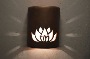 9 inch-lotus flower-terracotta haze-indoor-outdoor-lit (2)
