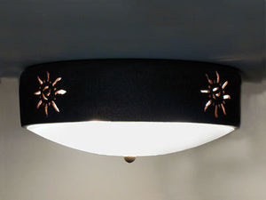 Flush Mount Ceiling Fixture w/Ancient Sun Design, in Copper Patina color