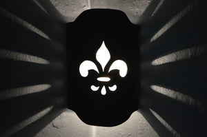 Arched Handcut wall sconce-Fleur de Lis-Black Suede-Indoor-Outdoor