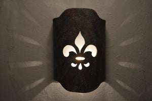 Arched Handcut wall sconce-Fleur de Lis-Copper Agate-Indoor-Outdoor