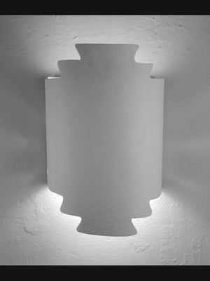 Architectural-Zig Zag Hand Cut Lighting Fixture-Unfinished Bisque-Indoor/Outdoor-Open Top Wall Sconce