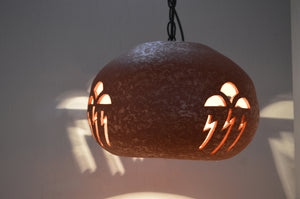 Hanging Bowl Pendant With Storm Cloud Design, in Red Mica color & Black chain