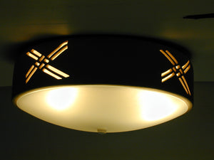 Ceiling Flush Mount light - w/Weavings Design in Tan color
