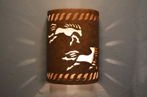 Southwest ceramic lighting fixtures - 12'' Open Top-Wild Horses w-Rope Design-Brown Mica-Outdoor lit