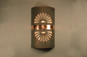 14'' Double Fan w/Brushed and Sealed Copper Band-Copper Patina-Outdoor