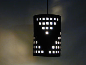 16″ Tall Cylinder Pendant with Grid Design, in Black Suede color
