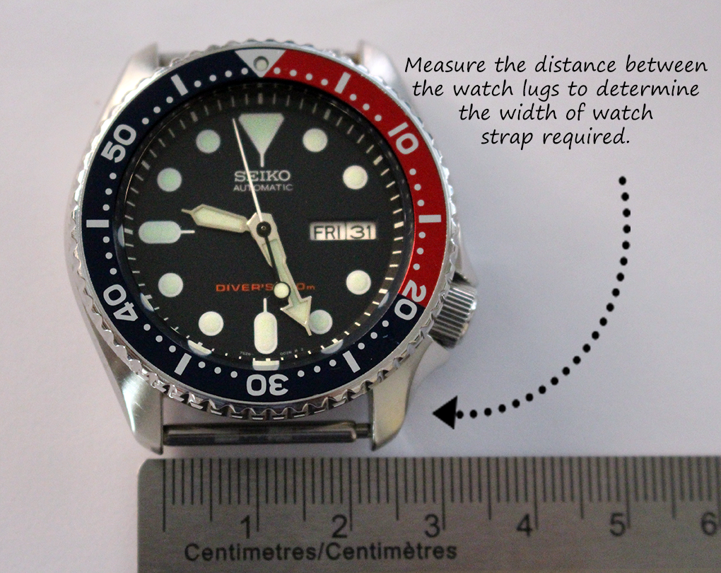 HOW TO SIZE YOUR WATCH BAND <br>Measure the distance between the watch lugs to determine the width of watch strap required.