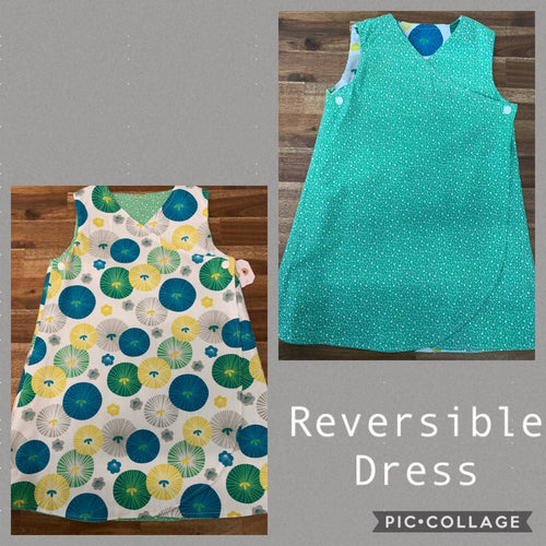 Girls Reversible Dress- Green, yellow and white prints