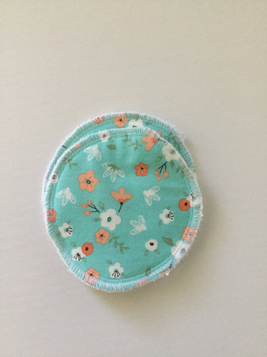 Reusable Nursing Pads- mint with small peach flower