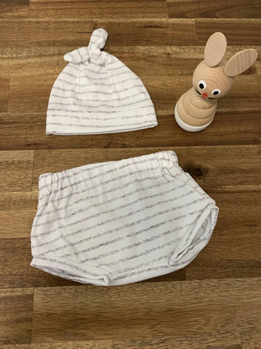Baby Hat and Bummies Set- Grey Stripe