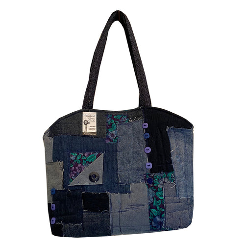 Original Handmade Quilted Denim Patchwork Handbag