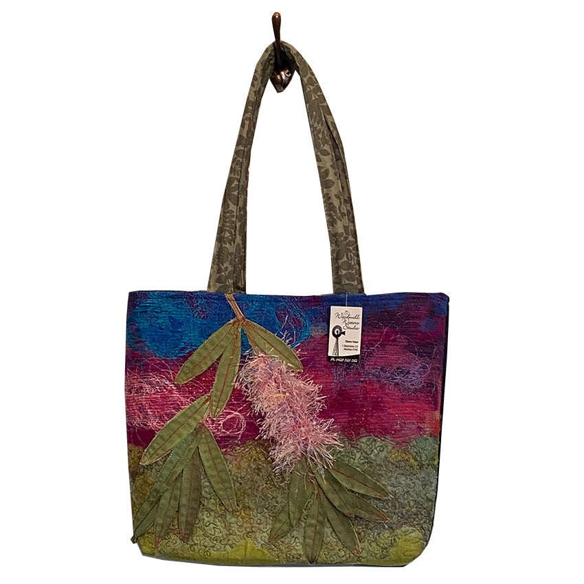 Original Handmade Quilted Australiana Handbag - Bottlebrush