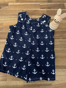 Baby Boy Overalls- Navy Anchors