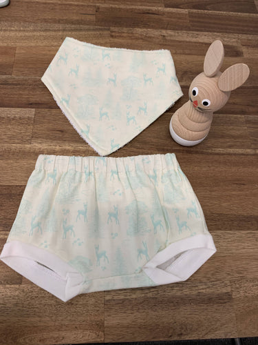 Baby Bib and Bummies Set- Cream and Mint Woodland