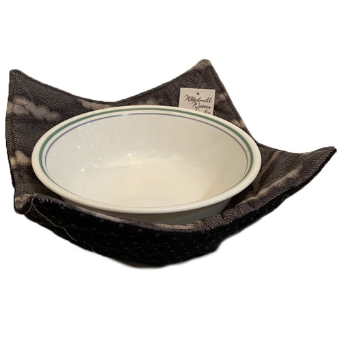 Handmade Microwave Bowl Holder - Black/Grey
