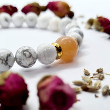 Load image into Gallery viewer, Petite Howlite & Sunstone Bracelet