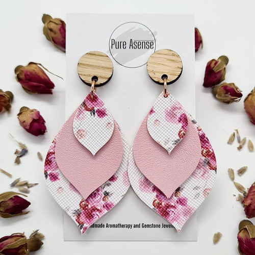 Pink Floral Diffuser Earrings