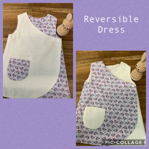 Girls Reversible Dress- Purple and White with pocket