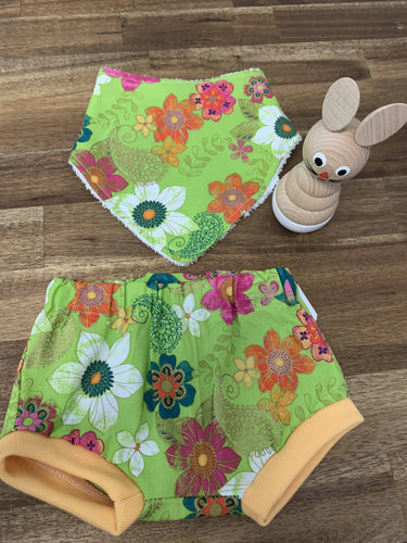 Baby Bib and Bummies Set- Lime Green with Flowers