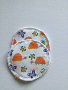 Reusable Nursing Pads - Orange Turtles