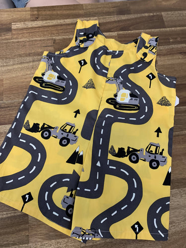Baby Boy Overalls- Yellow road