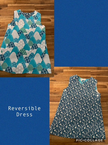 Girls Reversible Dress- Teal flower and Teal print