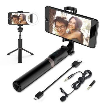 Premium HD 4-in-1 Bluetooth Tripod Selfie Stick With LED Ring Light