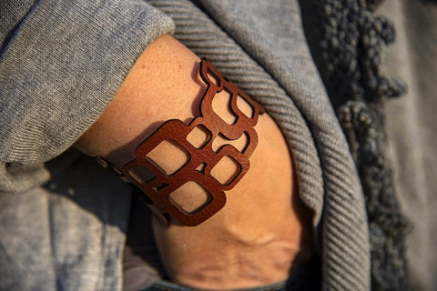 Mid Cen Mod Square Leather Bracelet
